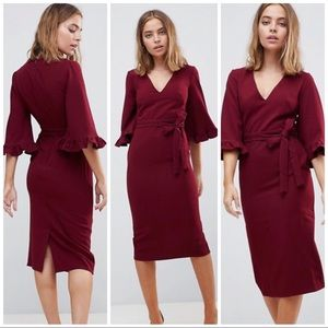 ASOS PETITE Red Kimono Frill Sleeve Midi Dress